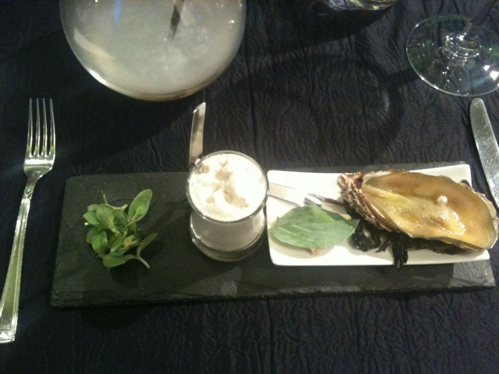 Salad, Oyster is full of iode, and soja milk mousse