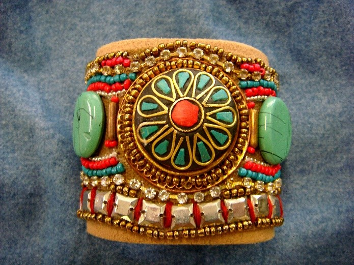 Jewelled leather tribal cuff